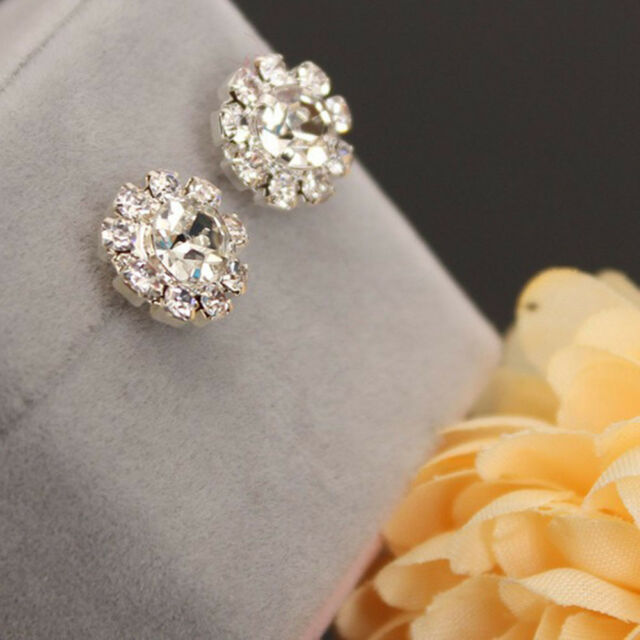 Bling Women Charm Jewelry Cubic Ear Stud Crystal Rhinestone Sunflower Earrings