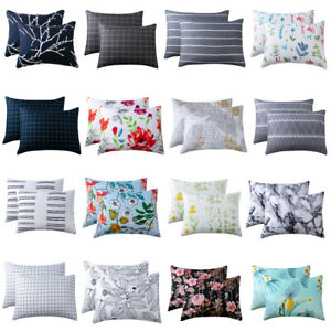 Soft Floral Theme Pillowcase Cover Home Sofa Cushion Cover Set 2pcs Pillow Cases