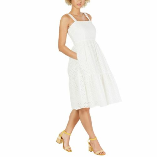 VINCE CAMUTO NEW Women/'s Smocked Eyelet Sundress Fit /& Flare Dress TEDO