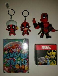 Marvel-DeadPool-Lot-Action-Figure-Key-Chain-Suicide-Squad-Movie-Cereal-Box-imax