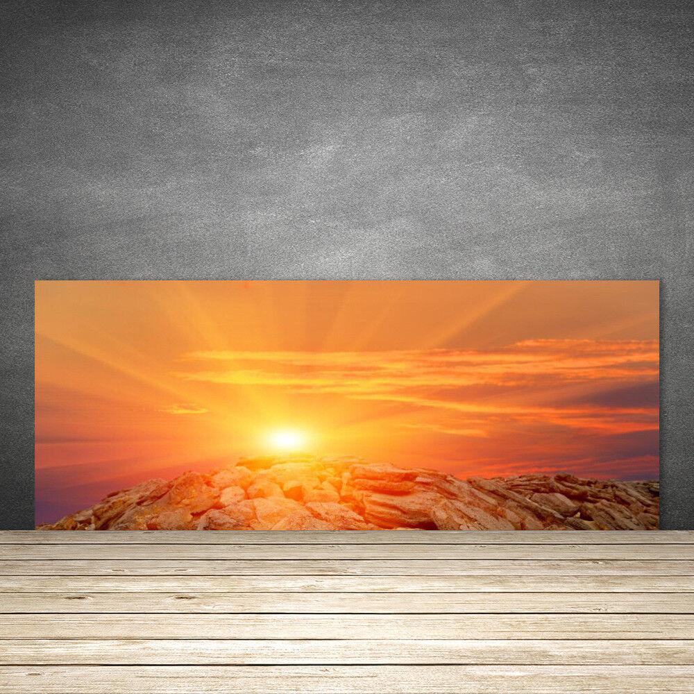 Crédence de cuisine en verre Panneau 125x50 Paysage Soleil