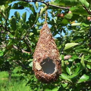 Natural Hanging Grass Nest Pet Bird House Nest Hatch Rest Hut #E Water Dtop