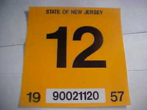 NEW JERSEY 1957 inspection sticker windshild | eBay