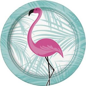 Image is loading SUMMER-Pink-Flamingo-SMALL-PAPER-PLATES-8-Birthday-  sc 1 st  eBay & SUMMER Pink Flamingo SMALL PAPER PLATES (8) ~ Birthday Party ...