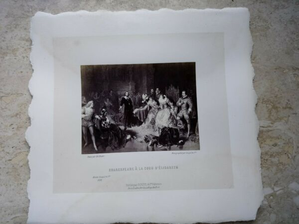$800 Foto Litografia Stampa Musee Goupil & Cie Shakespeare A La Cour D'elisabeth