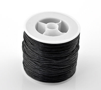 "80M(3149-5/8"") Black Waxed Cotton Cord 0.5mm Dia. for Bracelet/ Necklace"