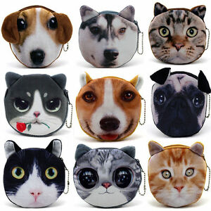 Children-Cat-dog-Face-Zipper-Case-Coin-Kids-Purse-Wallet-Makeup-Bag