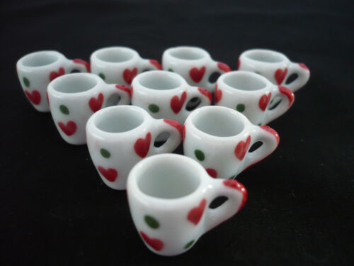 New 10 Christmas Mug Coffee Dollhouse Miniatures Ceramic
