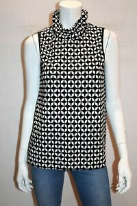 VALLEYGIRL-Brand-Black-White-Geo-Print-High-Neck-Sleeveless-Top-Sz-M-BNWT-TI85