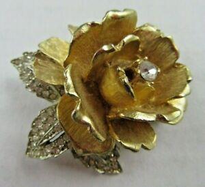 Vintage Large Gold Tone Flower Pendant Silver Tone Rhinestones
