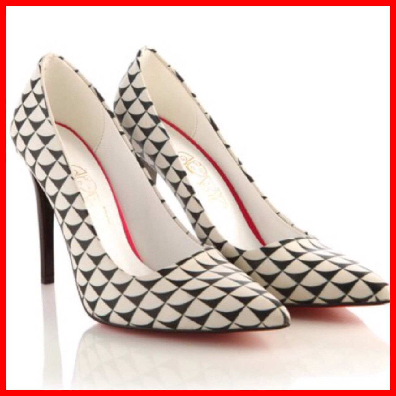 NIB Goby Geometric Pointy Toe Retro Dress Pumps Heels Stilettos 39 8 8.5