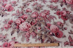 Antique-19thC-Old-French-Big-Scale-Cabbage-Rose-Chintz-Picotage-Cotton-Fabric