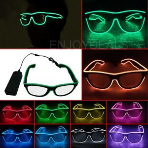 4293ff04be Flashing LED Neon Wire Light Up Sunglasses EL Glasses Glow Party ...