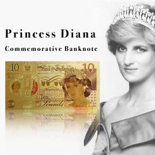 WR 24K GOLD Coloured The New Lady Diana Commemorative £10 Ten Pound Note 20YRS