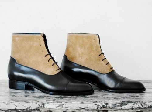 MEN NEU HANDMADE REAL SUEDE LEATHER Schuhe TWO TONE TAN & BLACK ANKLE HIGH BOOTS