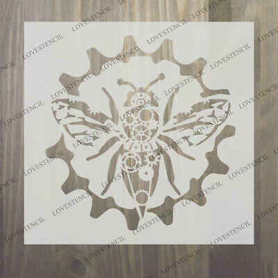 """steampunk cogs bumble bee stencil  craft,fabric,glass,furniture,wall up to 33/"""""""