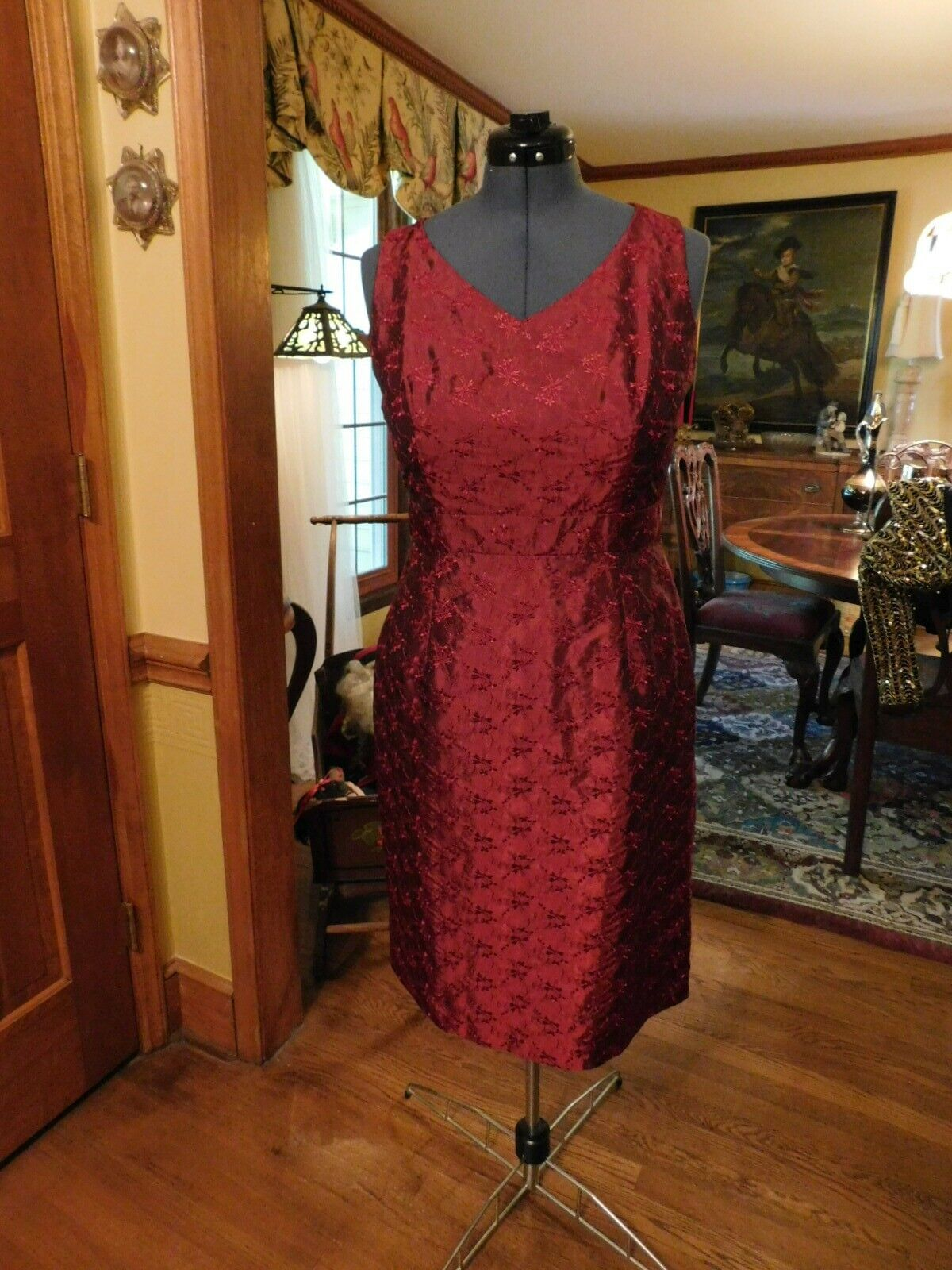 BEAUTIFUL CRANBERRY EMBROIDERED MOTHER OF THE BRIDE-SPECIAL OCCASION DRESS S12