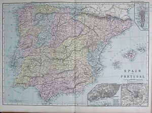 1890 LARGE VICTORIAN MAP SPAIN AND PORTUGAL INSET LISBON MADRID