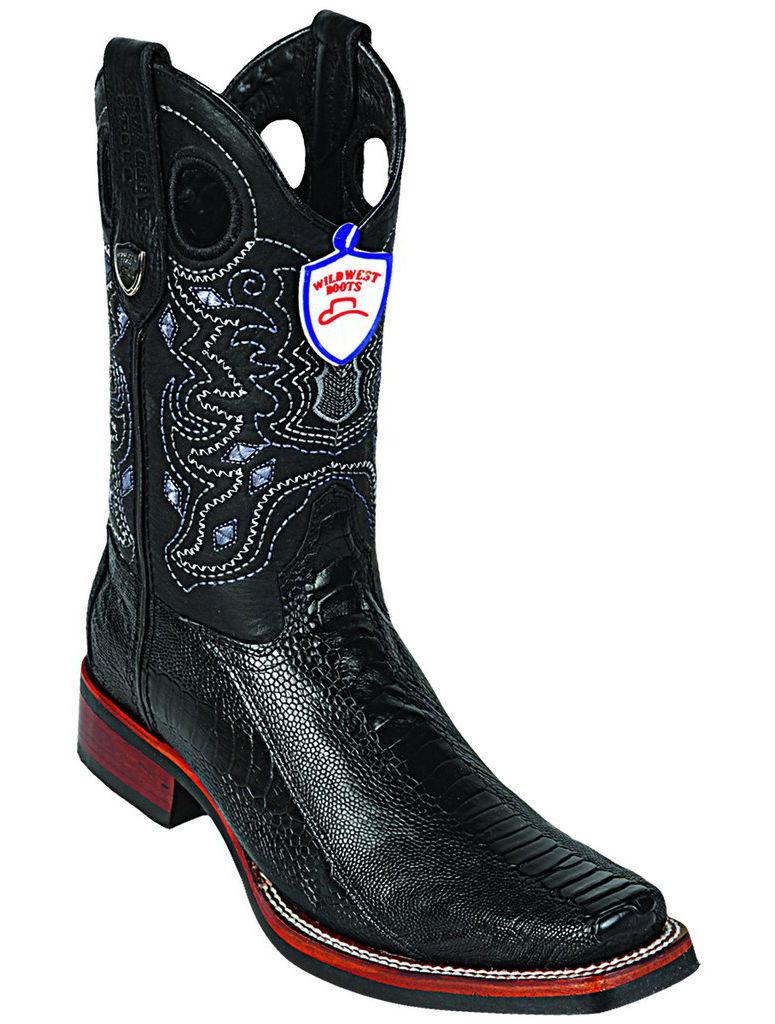 Wild West Cowboy Bota Pierna Negro Genuino Avestruz Rodeo-Square-Toe Suela De Goma D