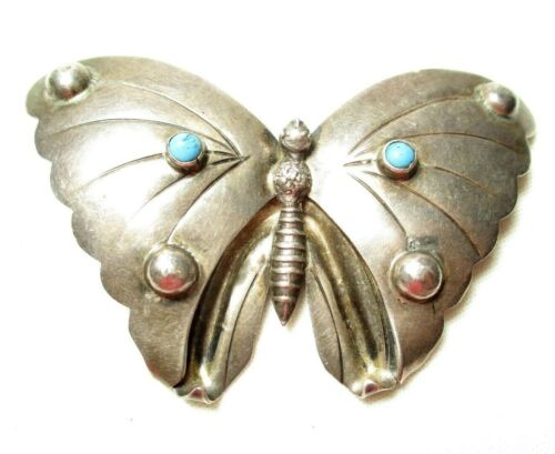 Huge Vintage Mexico Sterling Silver Butterfly Broo