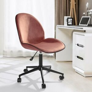 Détails sur Chaise de bureau ajustée Roulette mécanisme de papillon velours rose fauteuil