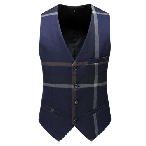 Men Navy Plaid Suit Groom Tuxedos Formal Wedding Prom Party Dinner Suit Custom