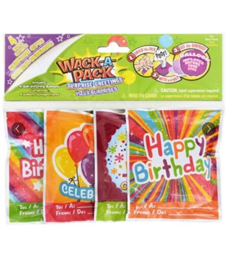 Happy Birthday Wack-A-Pack 4 SELF-INFLATING Mini Foil Balloons Brand New 4 Pc.
