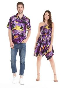 9cec11a580c Details about Couple Matching Shirt Dress Outfit Hawaiian Cruise Luau Dance  in Sunset Purple
