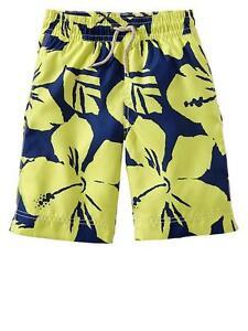 NWT GAP Kid Hibiscus Swim Trunks Short Board Shorts Swimwear UPF 50+ Boys S 6 7