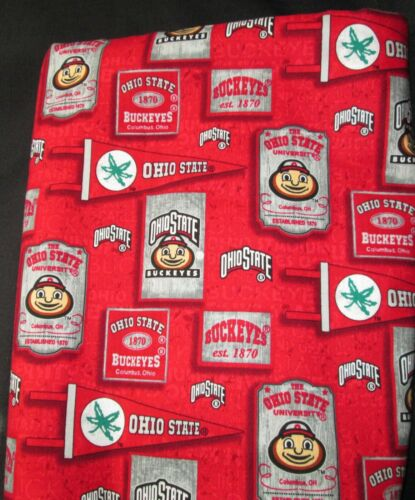 Ohio State University Cotton Fabric with Vintage Pennant