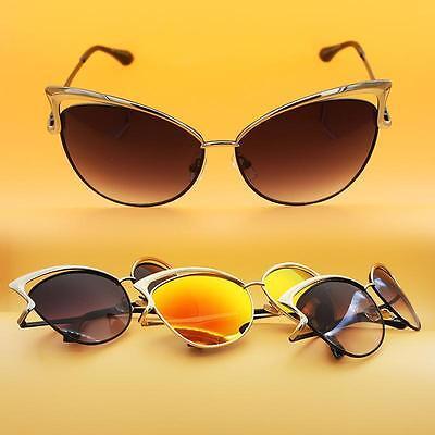Dita Von Teese Gradient Mirrored Sunglasses Metal Frame Women Cat Eye Eyewear