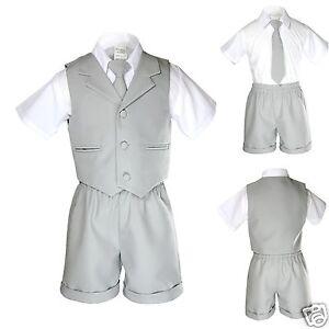 a111517ac16d New Boy Infant   Toddler Formal Eton Lt. Gray Vest Shorts Suit S M L ...
