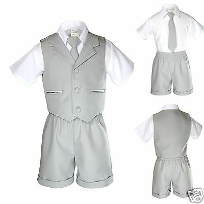 New Baby Boy Toddler Eton Formal Vest Set Suits Outfits Brown S M L XL 2T 3T 4T