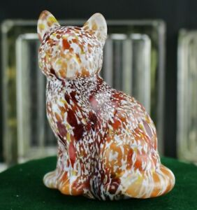 DAVE-FETTY-Blown-Glass-Signed-Off-Hand-Sitting-Cat-White-Red-and-Orange-Frit