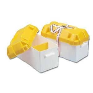 Leisure-Battery-Box-Large-110Ah-Yellow-With-Strap-for-Caravan-Boat-Motorhome