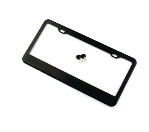 2PCS Stainless Steel License Plate Frames Plain with two holes Black