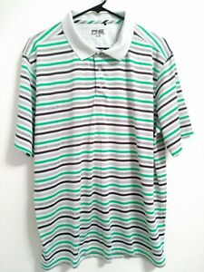 Mens-XL-Ping-Golf-Off-White-Green-Gray-Striped-Short-Sleeve-Active-Polo-Shirt