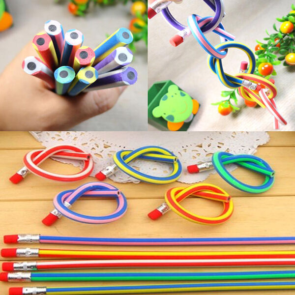 5X Colorful Magic Bendy Flexible Soft Pencil With Eraser For Kids Writing Gift