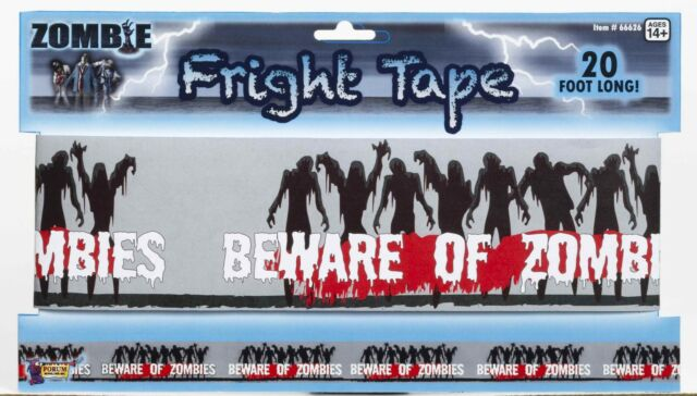 Zombie Fright Tape Party Decoration Beware of Zombies Decor Crime Scene Banner