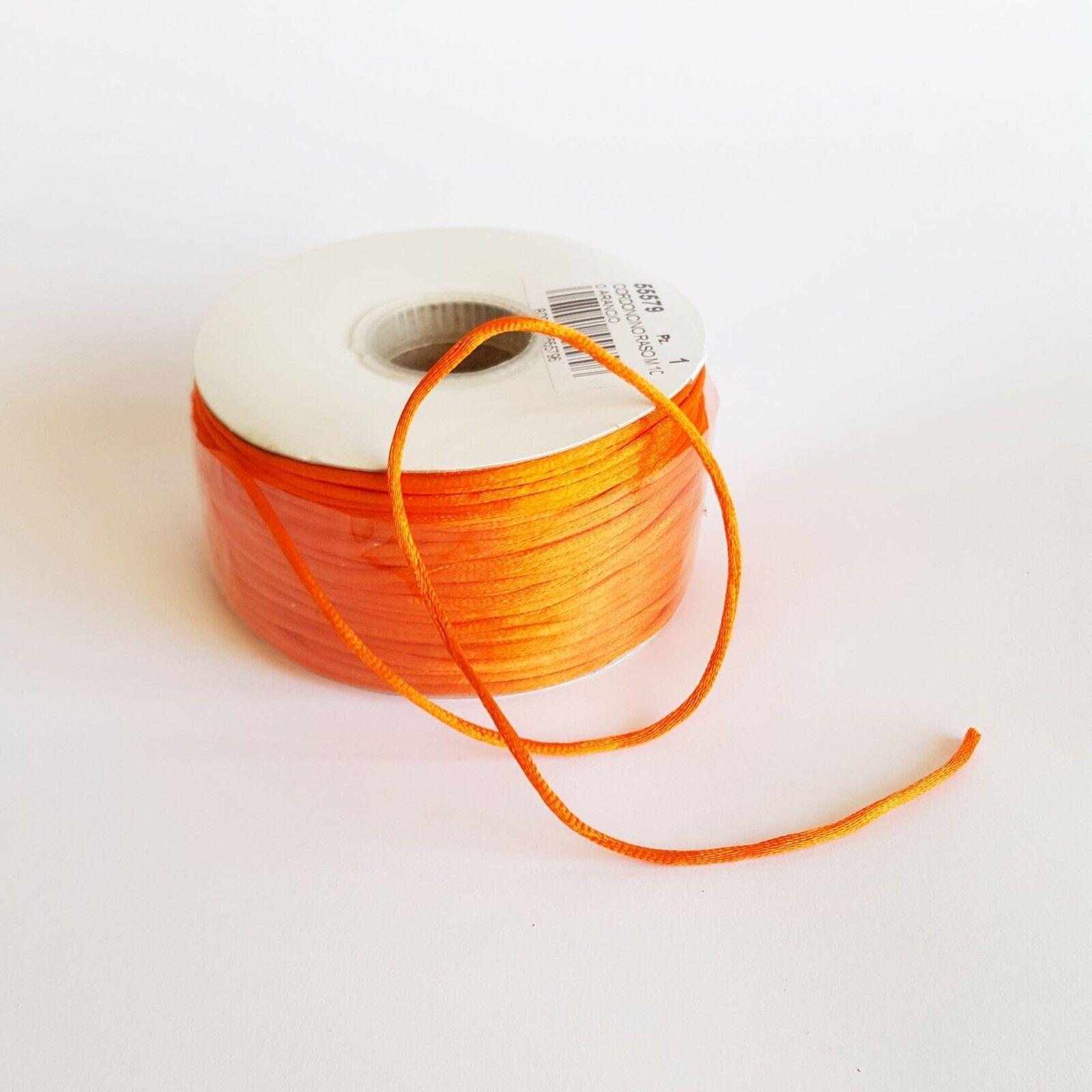 Cordoncino raso 10 mm rougeolo bobina 100 mt Arancione  D 2 mm  -art 55579