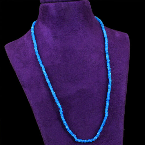 60.00 cts Earth mined Bleu apatite forme ronde à facettes Perles Collier NK 37E41