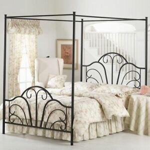 Full Queen King Size Black Metal Canopy Bed Frame Scroll Headboard Footboard Ebay
