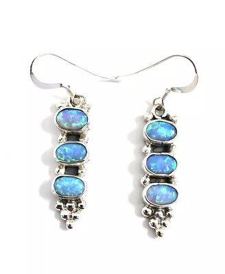 Native American Zuni Handmade Opal And Sterling Silver Stud Earrings