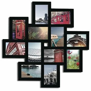 Black Wood Wall Hanging Collage Picture Photo Frame Set 12 Openings