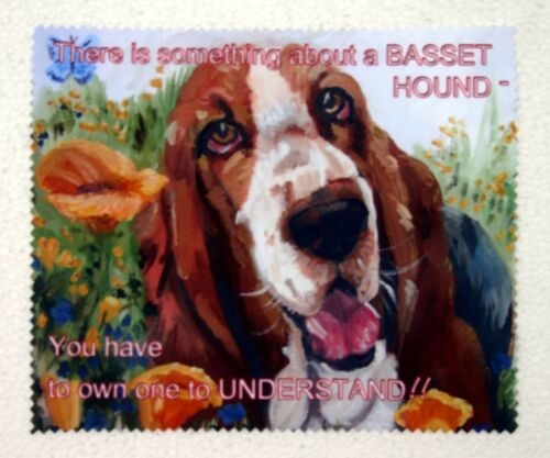 BASSET HOUND DOG GLASSES CAMERA BINOCULAR FIBRE LENS CLEANING CLOTH PRINT