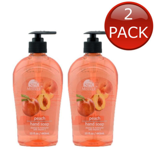 2 x SPA MYSTIQUE PEACH HAND SOAP PERSONAL HYGIENE FAMILY MOISTURE CLEANSE 443mL