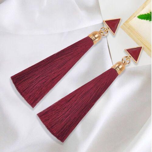 Boho Women Thread Long Tassel Earrings Rhinestone Drop Statement Fringe Earrings