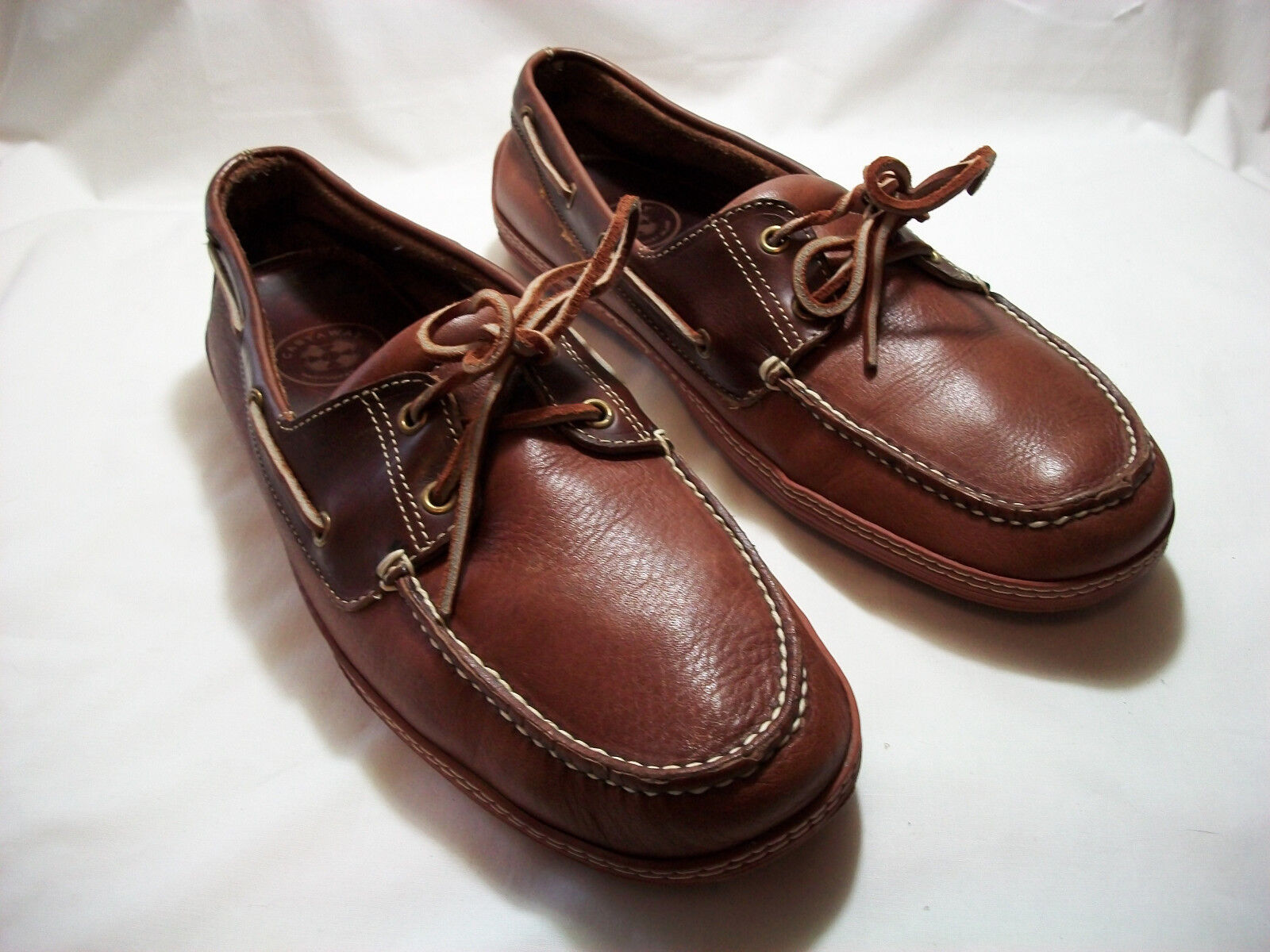 CASTAWAY NANTUCKET TWO TONE BROWN LEATHER DRIVERS BOAT SHOES SIZE 13 M