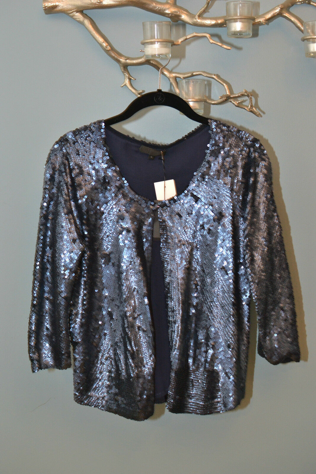 800 J.Crew COLLECTIONS navy Blau sequin jacket bolero oben cover up oben M NWT