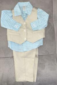 Boys/' Plaid Button Down Polyester Casual Dress Shirt Slim Fit Vest+Pant Outfits